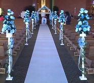 blue silk flower church decoration