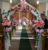 pink silk flower chuch decoration