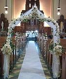 beige silk flower church decoration