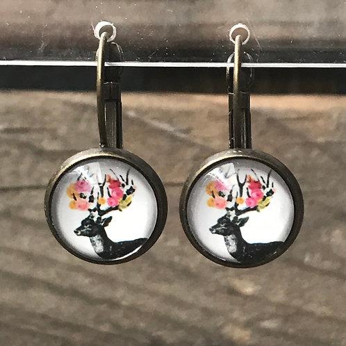 Ohrringe - Hirsch mit Blumen