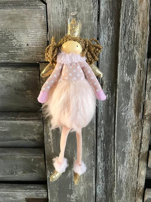 Schutzengel aus Stoff - rosa mit weissen Tüpfli