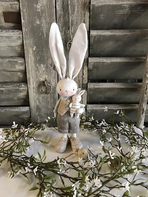 Vintage Hase mit Hasenbaby