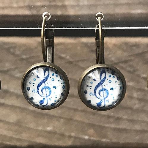 Ohrringe - Notenschlüssel blau