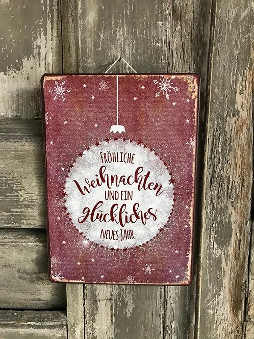 Schild: fröhliche Weihnachten...