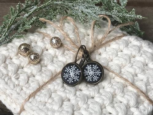 Ohrringe - Schneeflocken auf schwarz