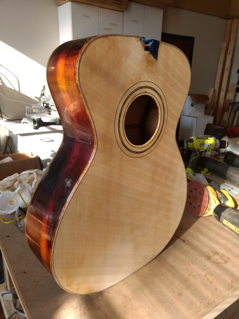 Top stripped with sides still in the burst finish.
