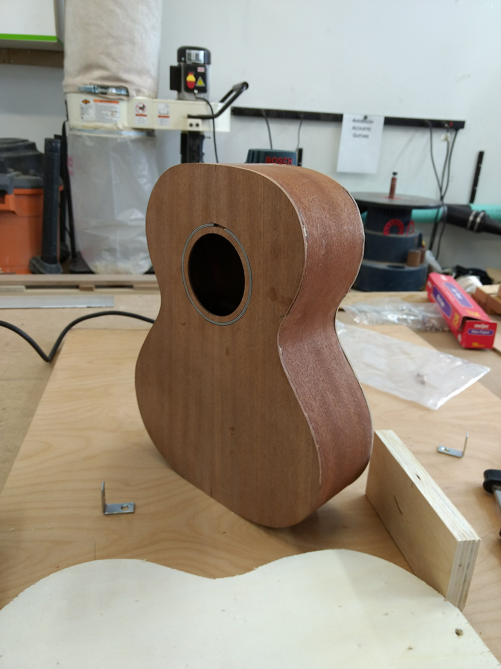"The assembled uke body or ""box""."