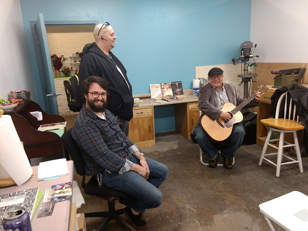 Songwriter friend Rick Drost (right playing an Anderson Acoustic OM, visited for the Holiday Open House!