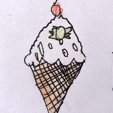 Mint Frozen Cherry Cone