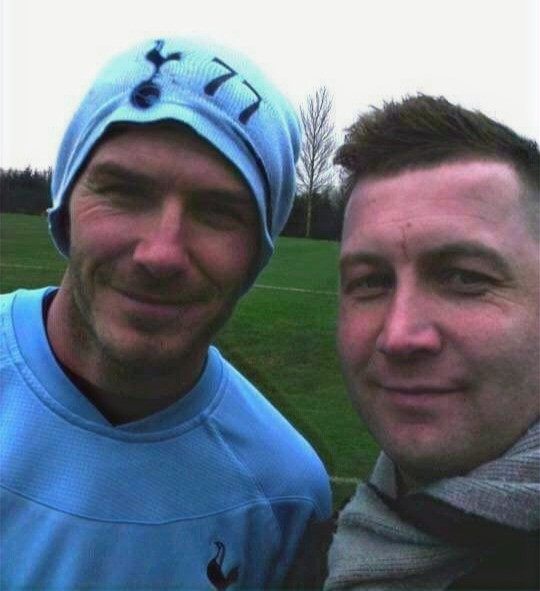 Ibrom with David Beckham at Spurs in 2012