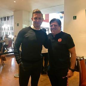 Ibrom with Club America Head Coach Miguel Herrera