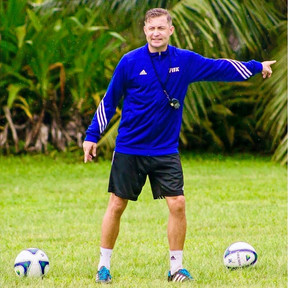 Ibrom instructing the Cook Islands U20 National Team