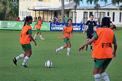 Ibrom working with the Cook Islands U16