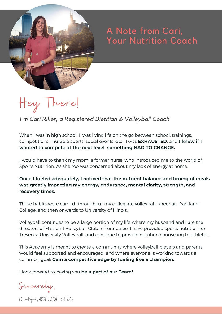 Volleyball Nutrition Academy Intro Lette