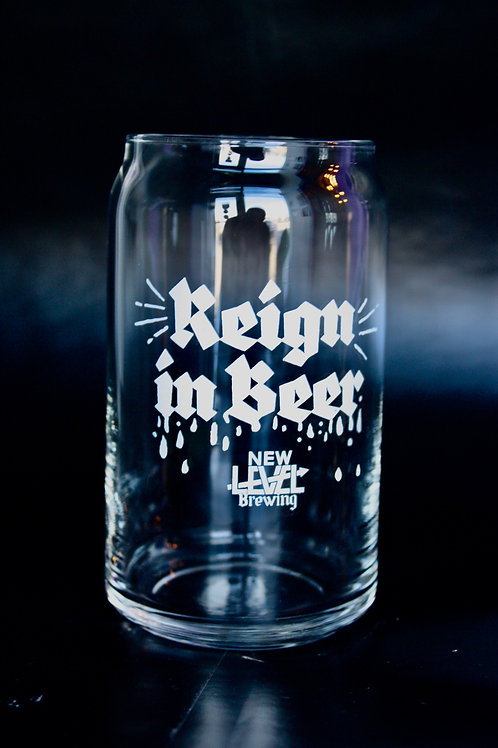 Reign in Beer 16oz Can Glass