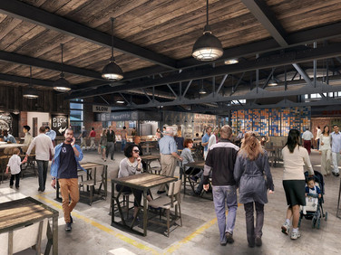 Interior view of The Garage Food Hall