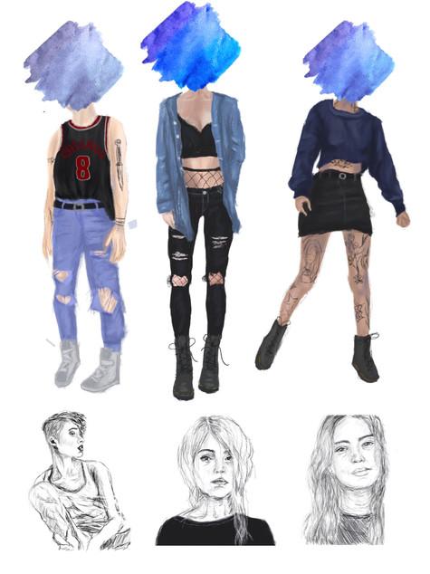 Theoretical Costume Designs for 'SHIT' by Patricia Cornelius
