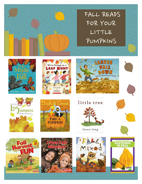 "An image recommending books for your children this fall. It says, ""Fall reads for your little pumpkins."" It recommends ten books. They are, In the Middle of Fall, We're Going on a Leaf Hunt, Leaves Fall Down, Leaf Jumpers, Duck & Goose Find a Pumpkin, Little Tree, Fall Harvest Fun, I Feel Fall Weather, Fall Mixed Up, and Patterns in Fall."