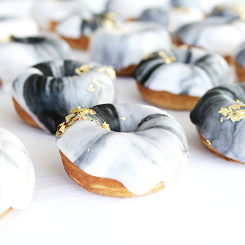Dozen Marbled Mini Donuts with Gold Flakes