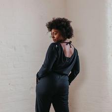 Sienna Apparel Black Jumpsuit Back