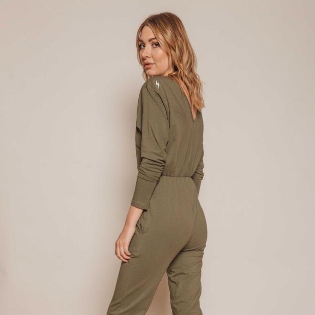 Sienna Apparel Khaki Jumpsuit Back