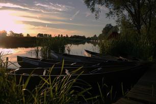 Canoes at Dusk, Barnwell Moorings, River Nene