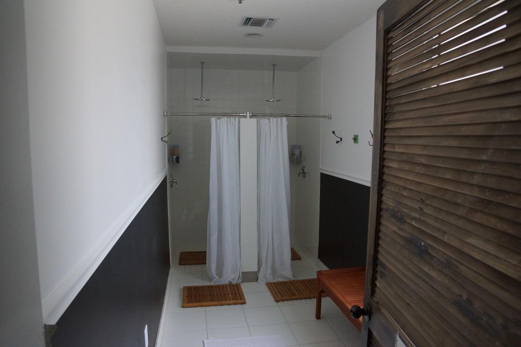 Ladies' showers at Lala Hot Yoga