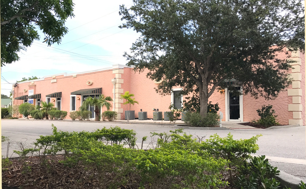 Back of Lala Hot Yoga in downtown Stuart