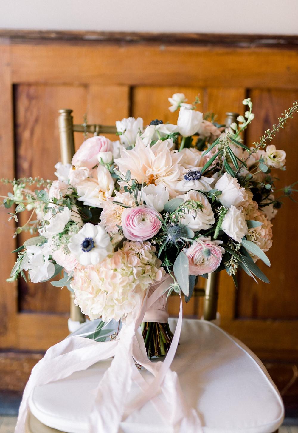 Blush Garden Wedding Sioux Falls SD Bridal Bouquet Thistle and Dot Floral Design
