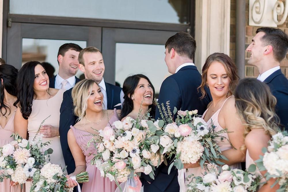 Bridal Party Blush Garden Wedding Sioux Falls SD Thistle and Dot Floral Design
