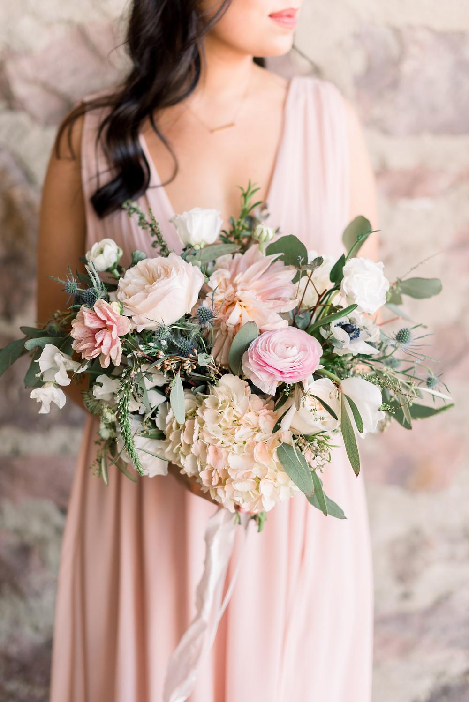 Blush Garden Wedding Downtown Sioux Falls Thistle and Dot Floral Design Bridesmaid Bouquet