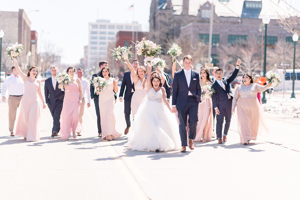 Downtown Sioux Falls Blush Garden Wedding Thistle and Dot Floral Design
