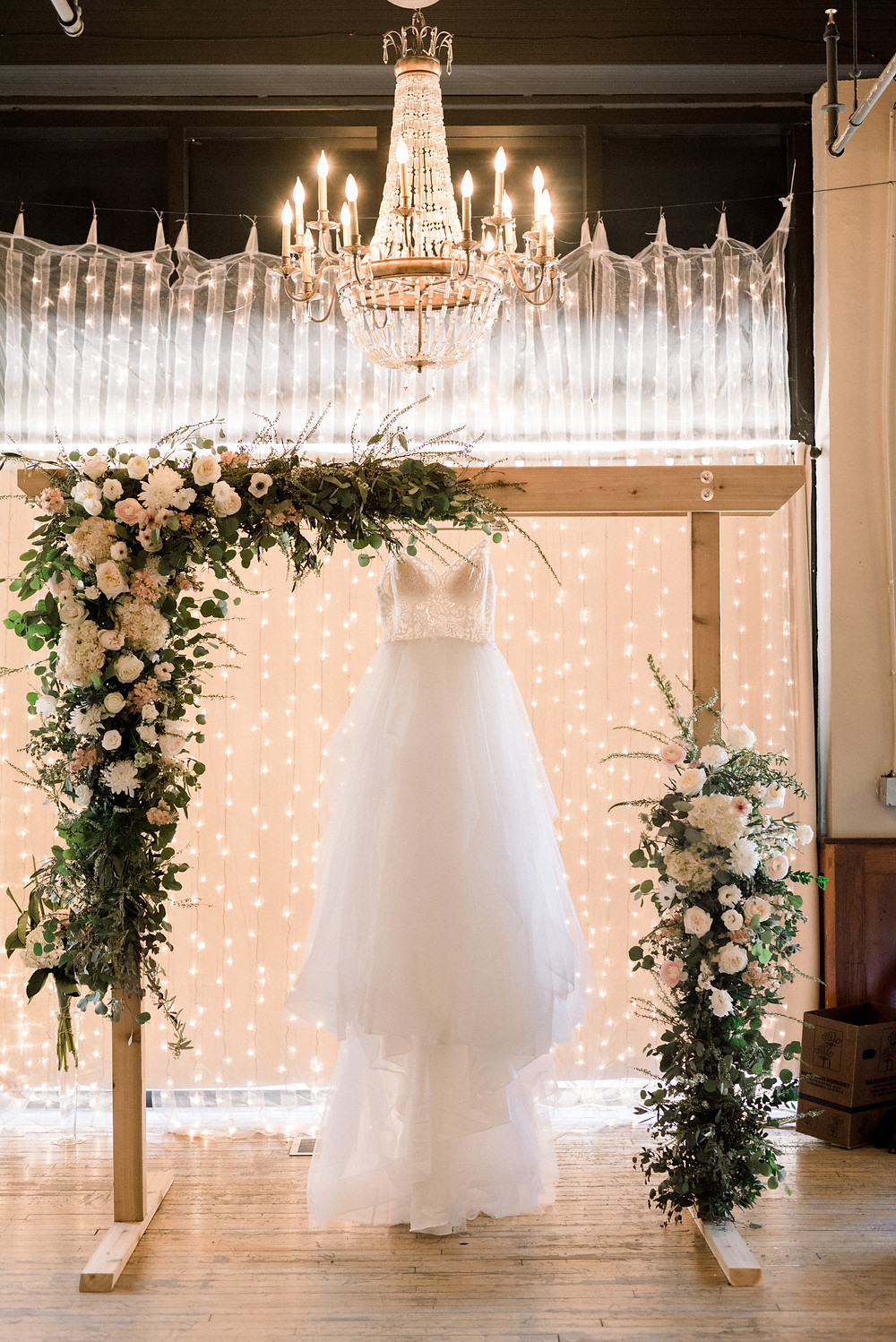 Wedding Dress Blush Garden Arch Flowers Sioux Falls SD The ICON Thistle and Dot Floral Design
