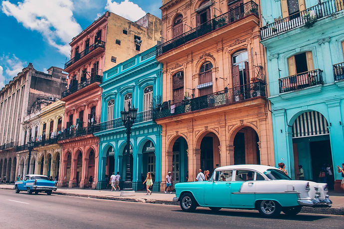 Foreign colorful buildings with balconies