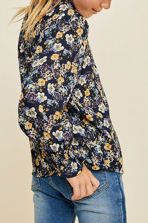 Floral High Neck Smocked Long Sleeve Top