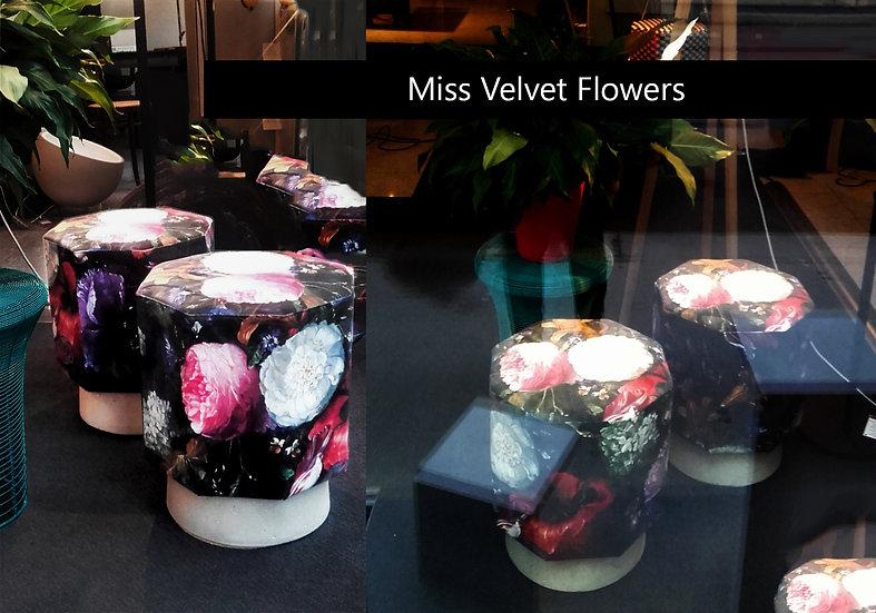 Samthocker Blumen achteckig