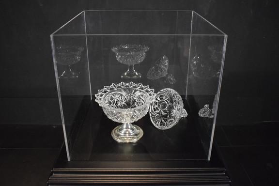 Sola lì rimase Speranza 2019  Installazione in plexiglass su base di legno, vaso all'interno in cristallo con piedistallo in argento ossidato.