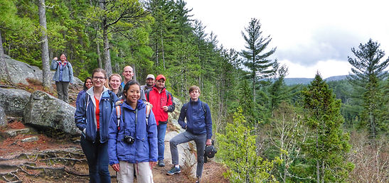 group of people hiking in Algonquin