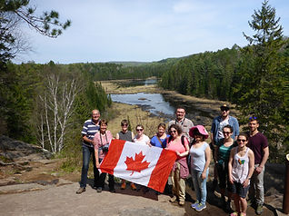 Group of people hiking in Algonquin Park