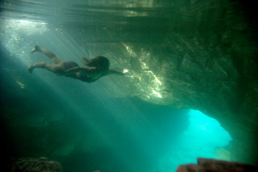 swimming in grotto