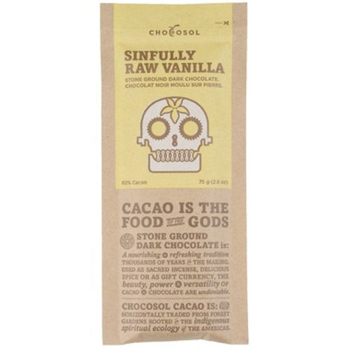 Sinfully Raw Vanilla 82% Chocosol Bar
