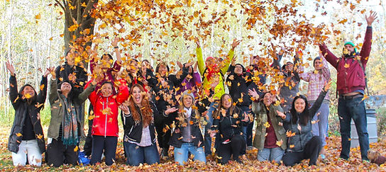 group of people throwing leaves to the air