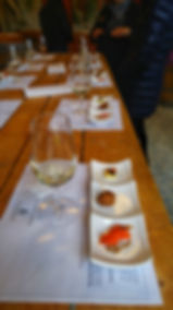 Wine and food pairing on the able at the winery in Niagara