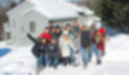 Group of people in a winter standing on the snow in Mont Tremblant