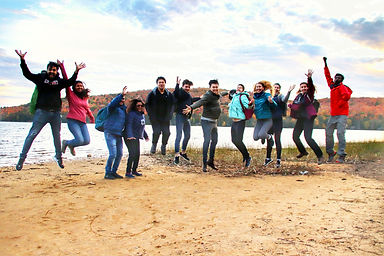 Jumping picture of people on the beach