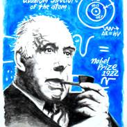 Neils Bohr, ink wash 16 x 20