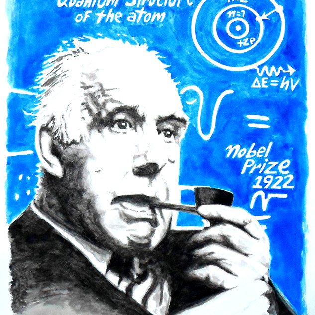 Neils Bohr, ink wash 16 x 20