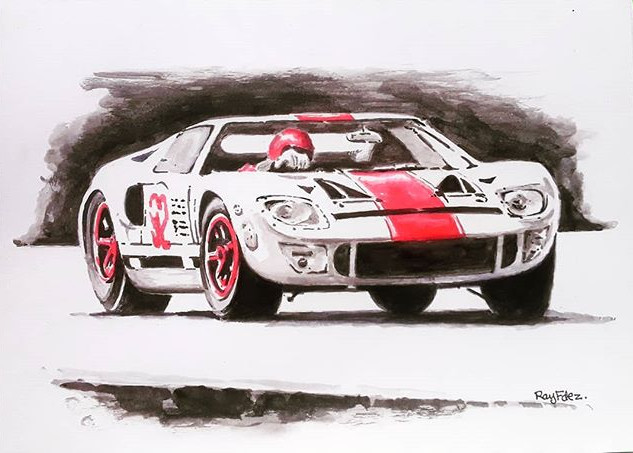 Ford GT. Ink wash. Just black ink, red i