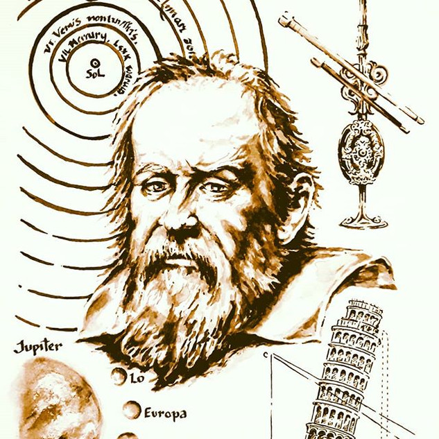 Galileo Galilei. 12 x 16, black India in