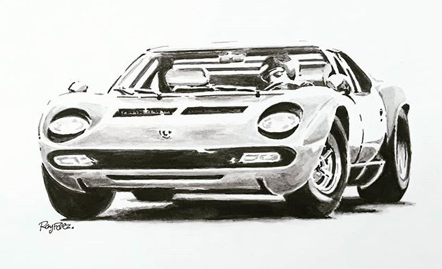 69 Lambo Miura, Ink wash. Just h2o, blac